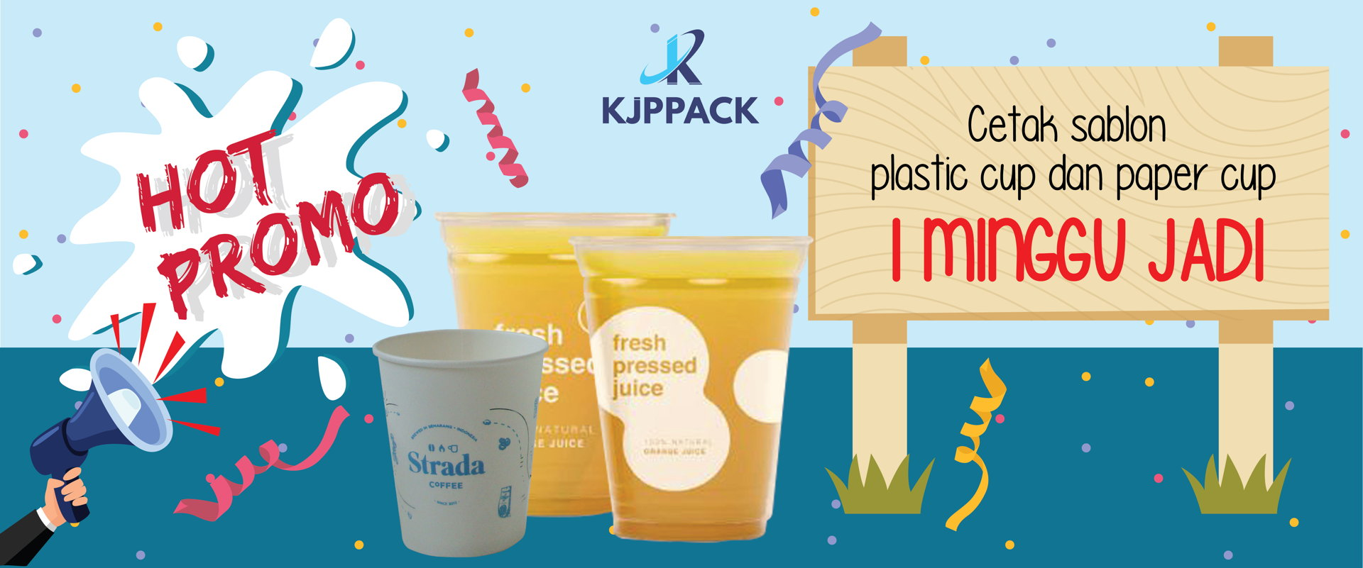 banner promo cetak sablon plastik cup hanya seminggu